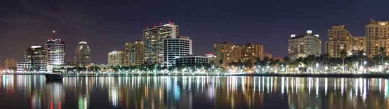 West Palm Beach Downtown at Night flpalmbeach.com Martin Group Real Estate Team Image