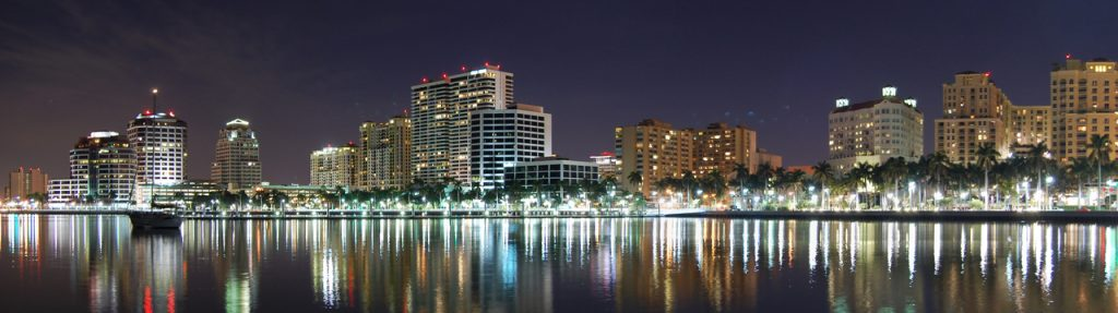 Downtown West Palm Beach Night Lights Martin Group Palm Beaches Real Estate Team
