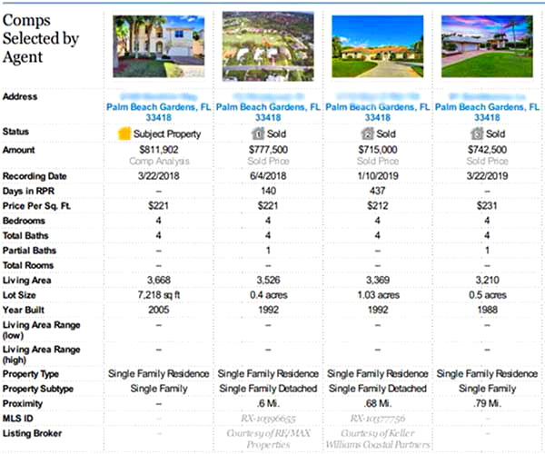 CMA Home Value Report Example Page Comparables