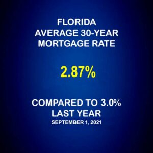 Florida Average Mortgage Rates 9-1-21 Compared to Year Ago