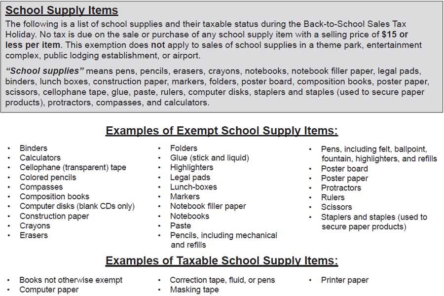 Florida Back to School Sales Tax Free Holiday 2021 School Supplies
