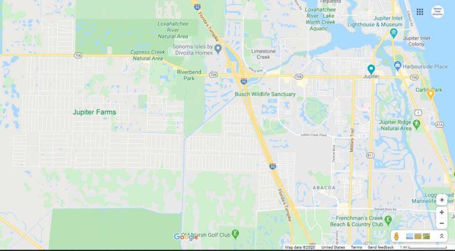 Jupiter Farms Homes For Sale Google Map