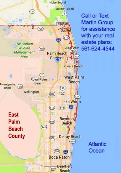 Map East Palm Beach County Cities FLPalmBeach Martin Group Real Estate