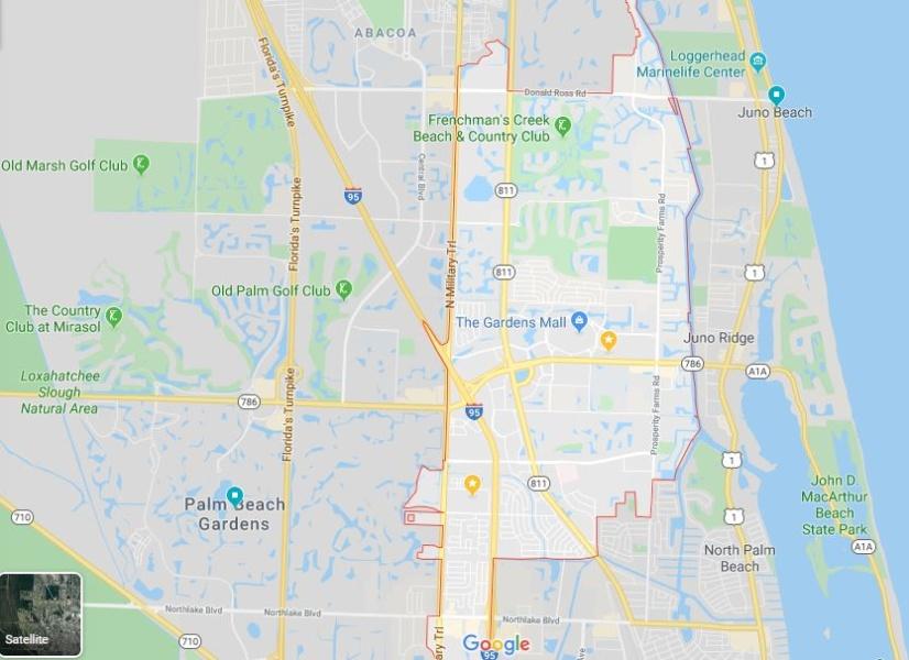 Palm Beach Gardens 33410 Map Outline