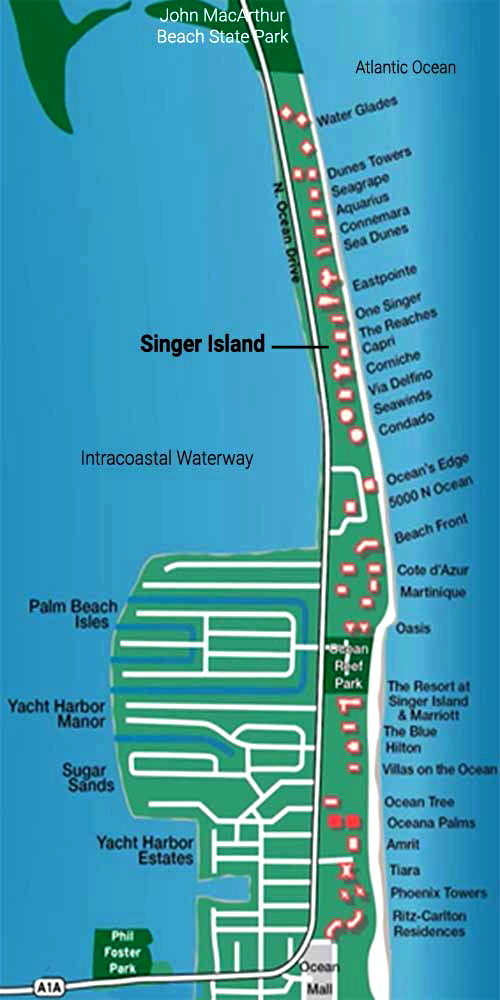 Singer Island with Condo Names Buildings Map