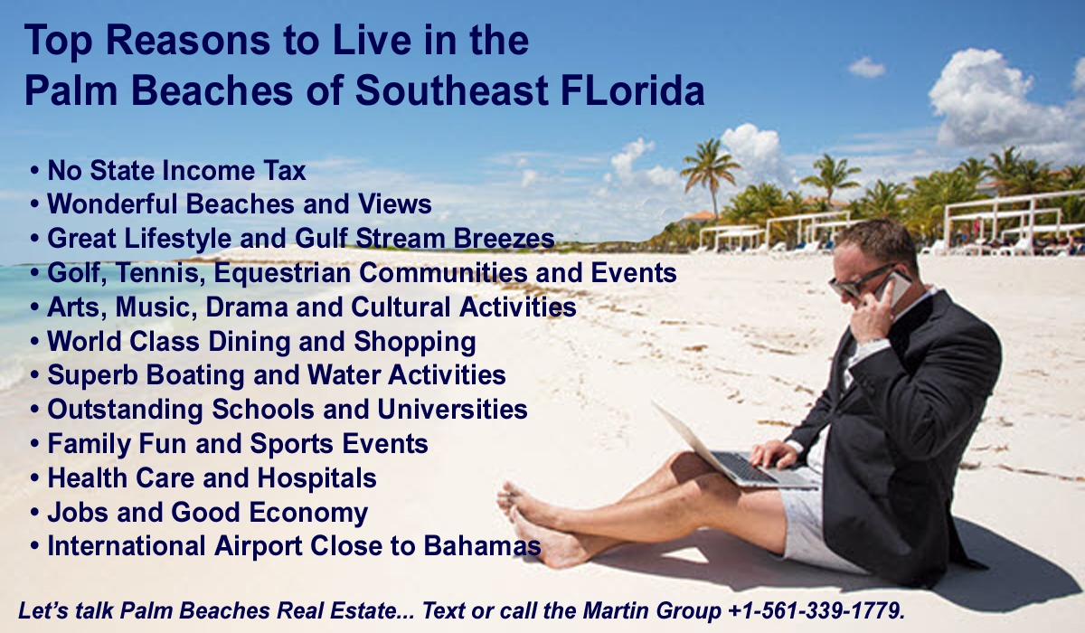 Top Reasons to Live in Palm Beaches Man on Beach Background 1200x700 Image